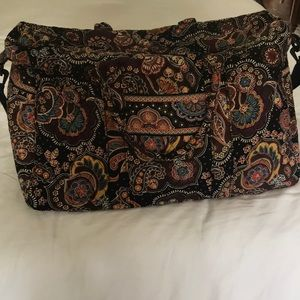 EUC Vera Bradley brown paisley overnight bag